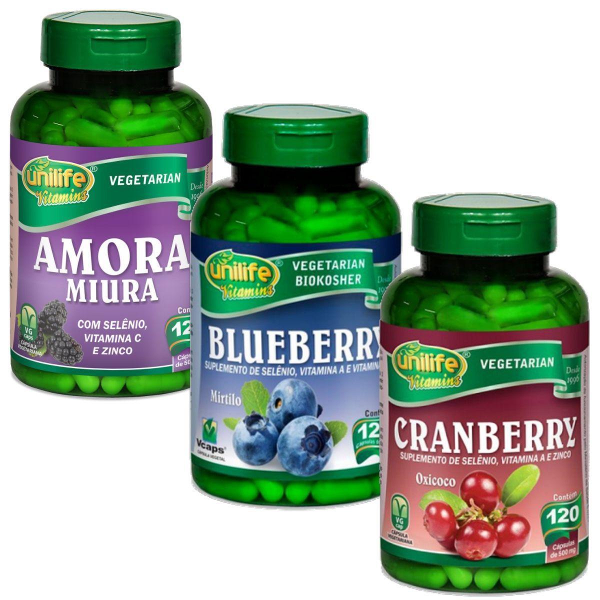 Kit Polifenóis - Amora Miura + Blueberry + Cranberry - Unilife 120 Cápsulas