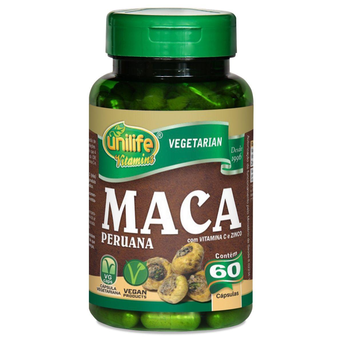 Maca Peruana C/ Vitaminas 550mg 60 Cápsulas - Unilife