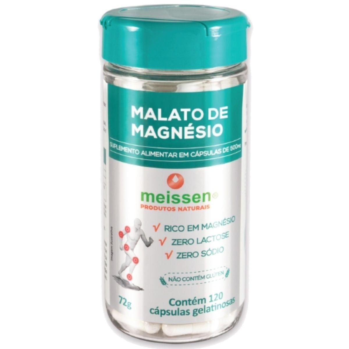 Malato de Magnésio (Magnésio Dimalato) Puro 120 Cápsulas Gelatina - Meissen