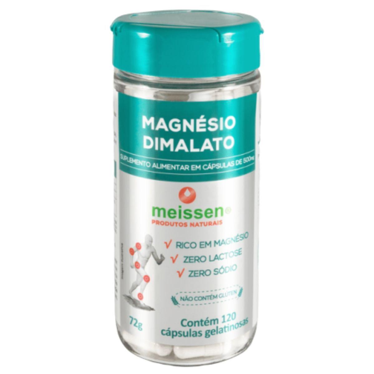 Magnésio Dimalato Puro  120 Cápsulas Gelatina Meissen