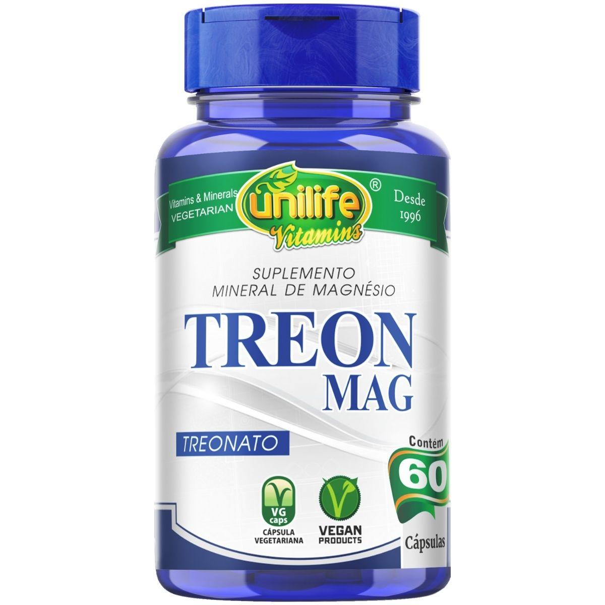 Magnésio L-Treonato Treon Mag 60 Cápsulas 710mg - Unilife