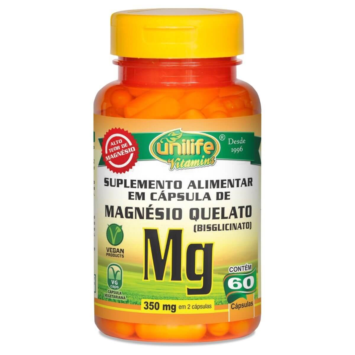 Magnésio Quelato 700mg 60 Cápsulas - Unilife