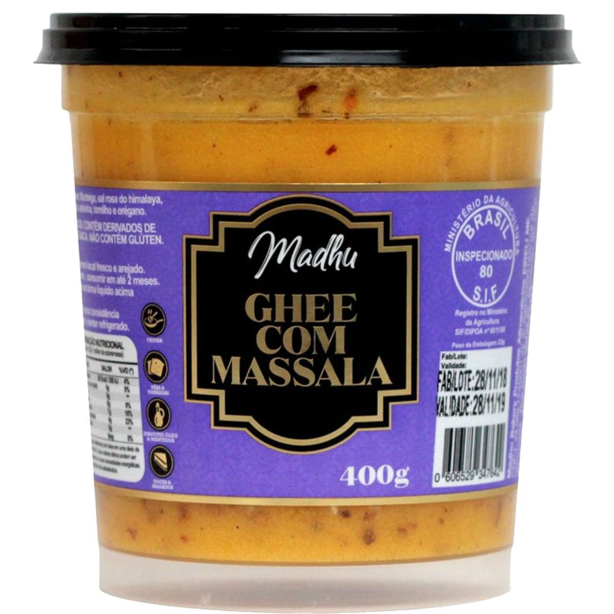 Manteiga Ghee C/ Massala Clarificada 400g - Madhu Bakery
