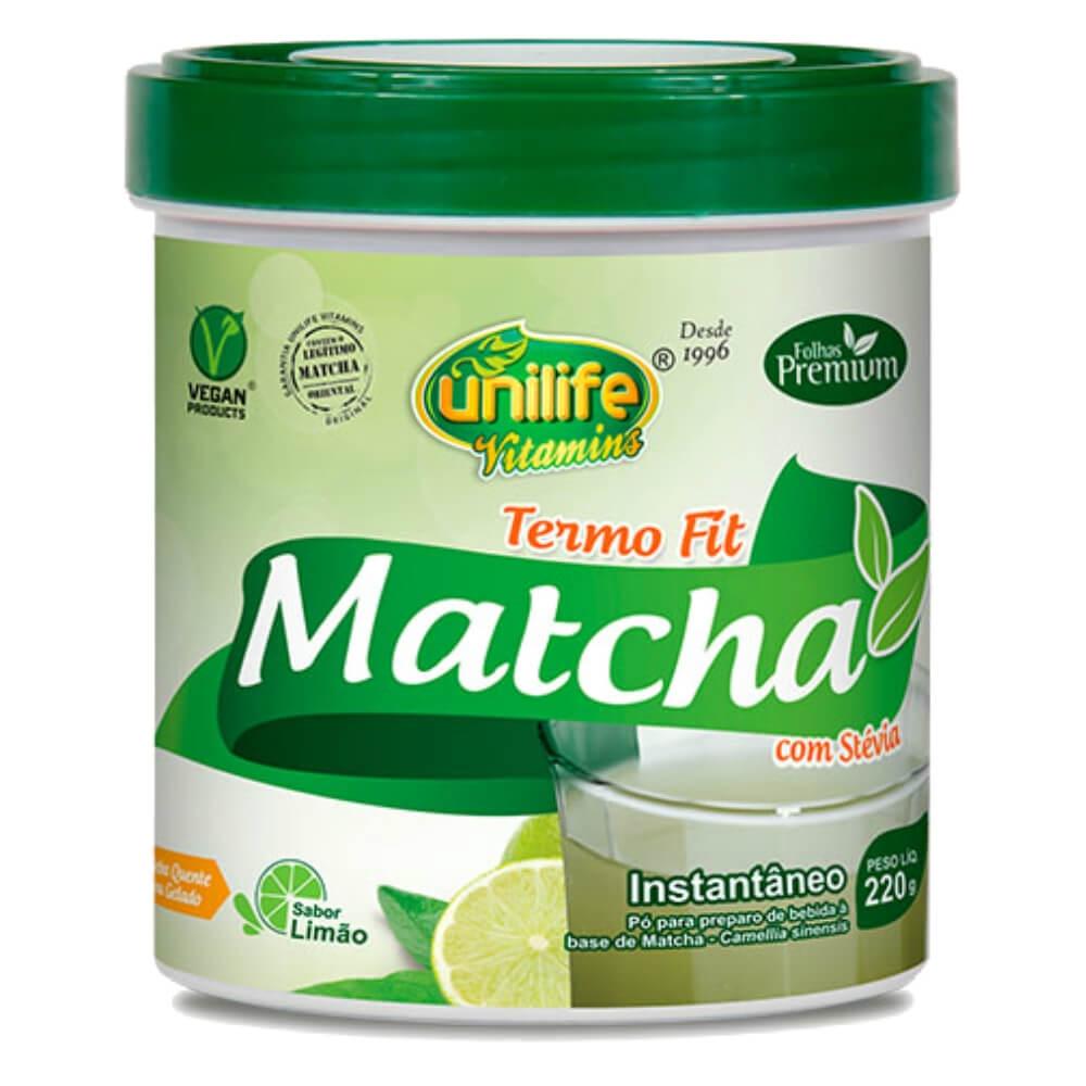 Matcha Termo Fit C/ Stévia Chá verde Sabor Limão 220g - Unilife