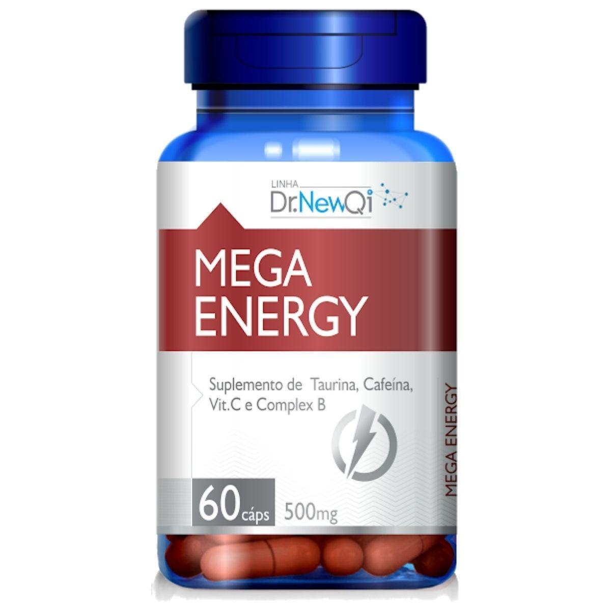 Mega Energy Taurina + Cafeína + Vit. C e Complexo B 60 Cápsulas - Upnutri
