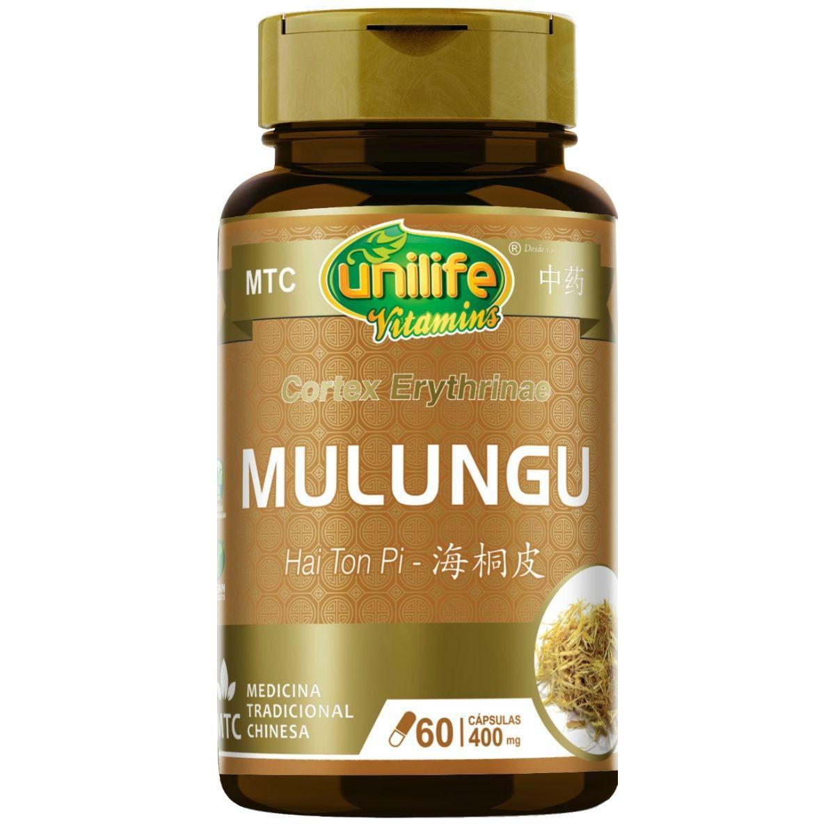 MTC Mulungu Puro Vegano 400mg 60 Cápsulas - Unilife
