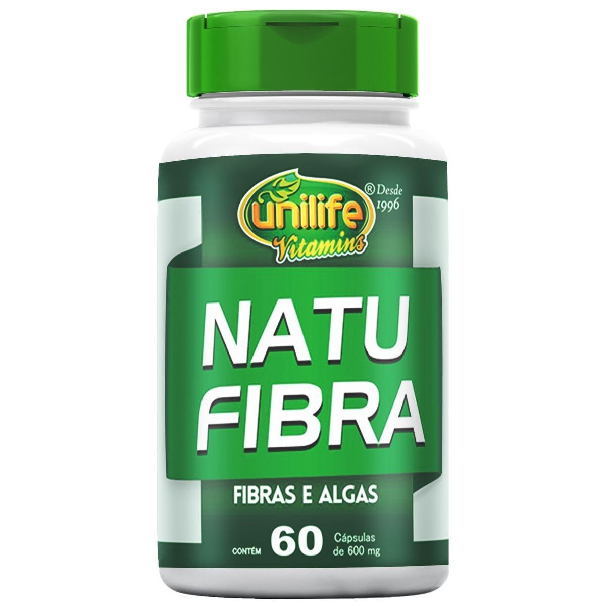 Natu Fibra Unilife Fibras e Algas - 600 Mg 60 cápsulas