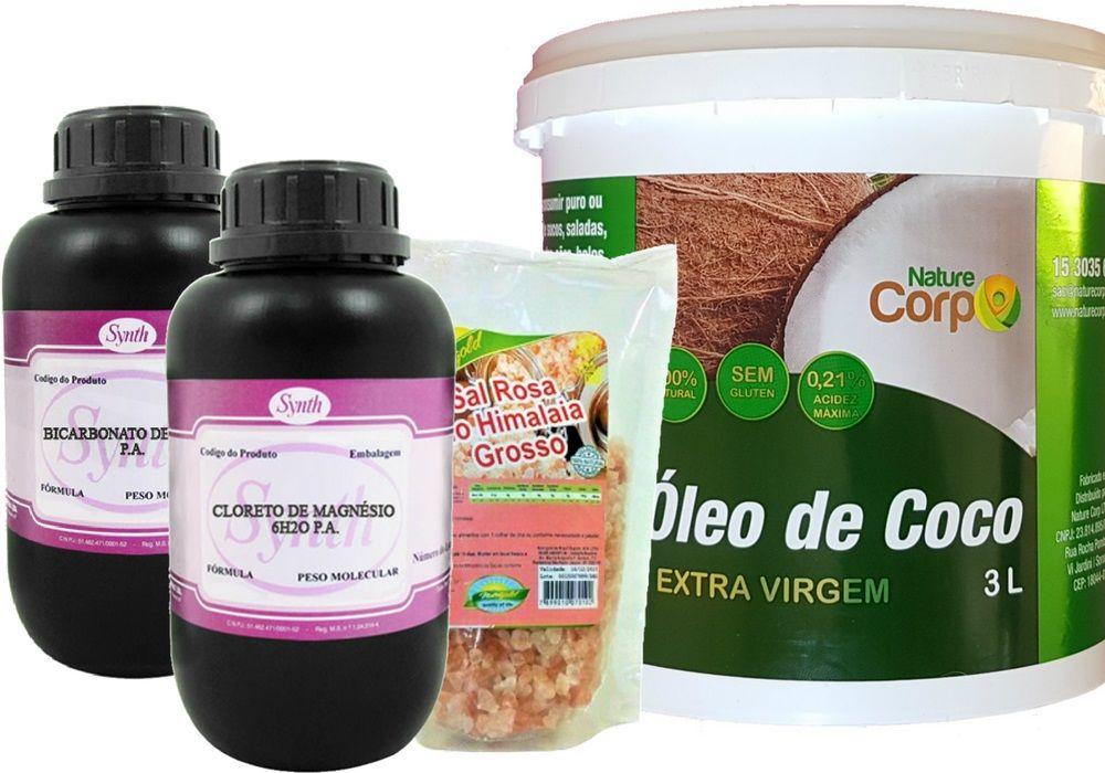 Oleo Coco Extra + Cloreto Magnesio + Bicarbonato + Sal Rosa do Himalaia Grosso ou Fino