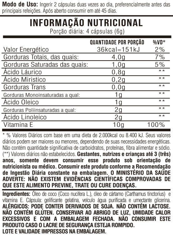 Óleo de Cartamo + Óleo de Coco + VItamina E - 1000mg 60 Cápsulas Gelatinosas
