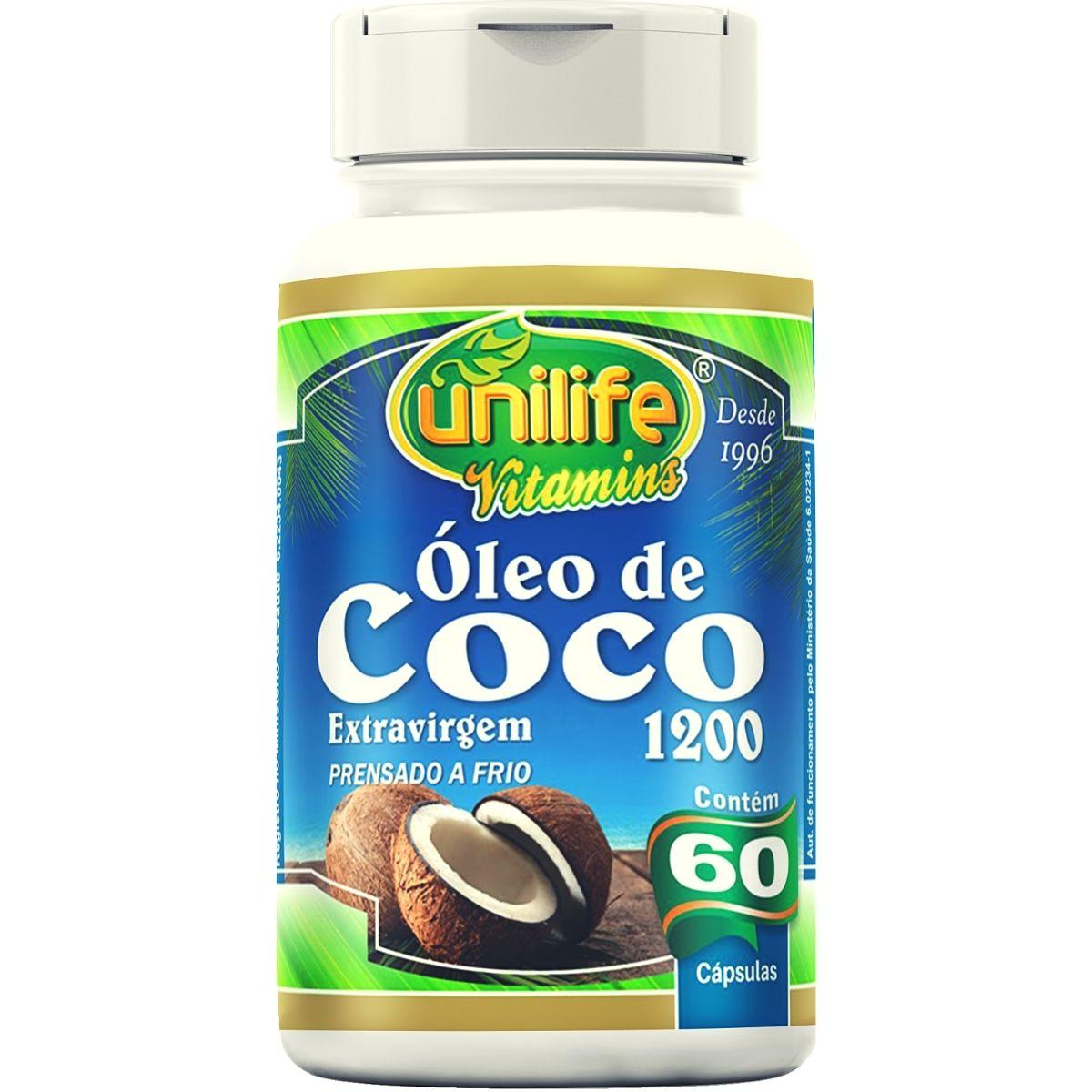 Óleo de Coco Extra Virgem 60 Cápsulas 1200mg - Unilife