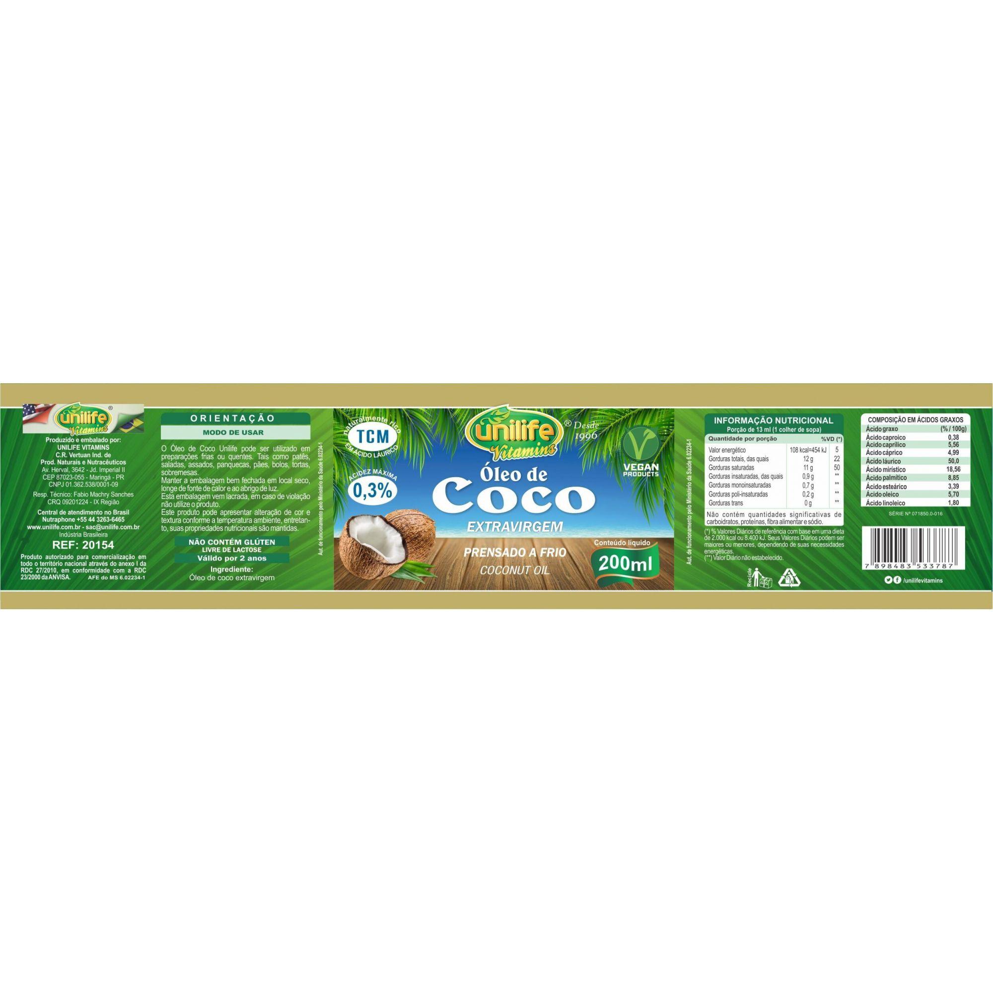 Óleo de Coco Extra Virgem Prensado a Frio Puro 200ml 100% Natural - Unilife