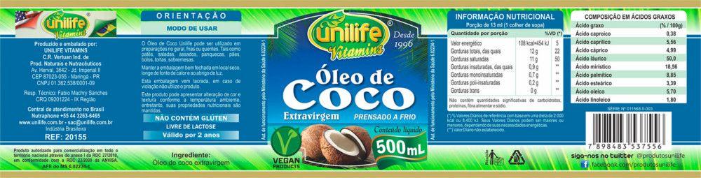 Óleo de Coco Extra Virgem Puro 500ml - Unilife - 100% Natural