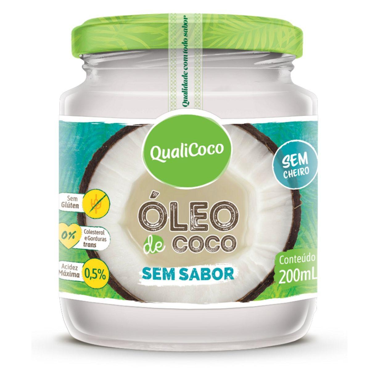Óleo De Coco Sem Sabor E Sem Cheiro Prensado A Frio 200ml - QualiCoco