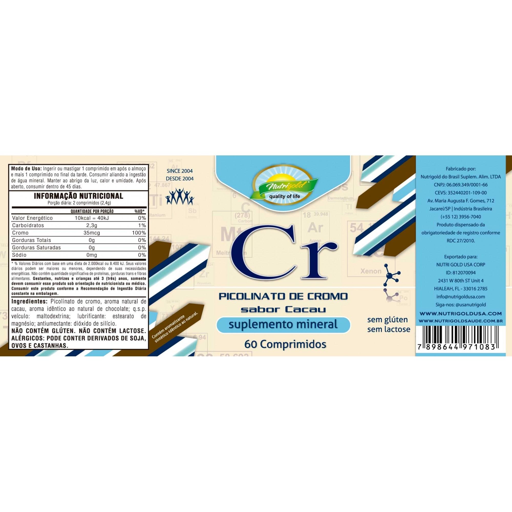 Picolinato de Cromo 60 Comprimidos 1,2g  Sabor Cacau - Validade: 01/20