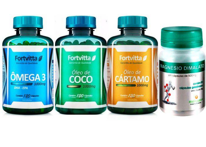 Quarteto - Omega 3 120 Caps + Cartamo 120 Caps + Oleo De Coco 120 Caps + Magnesio Dimalato 60 Caps