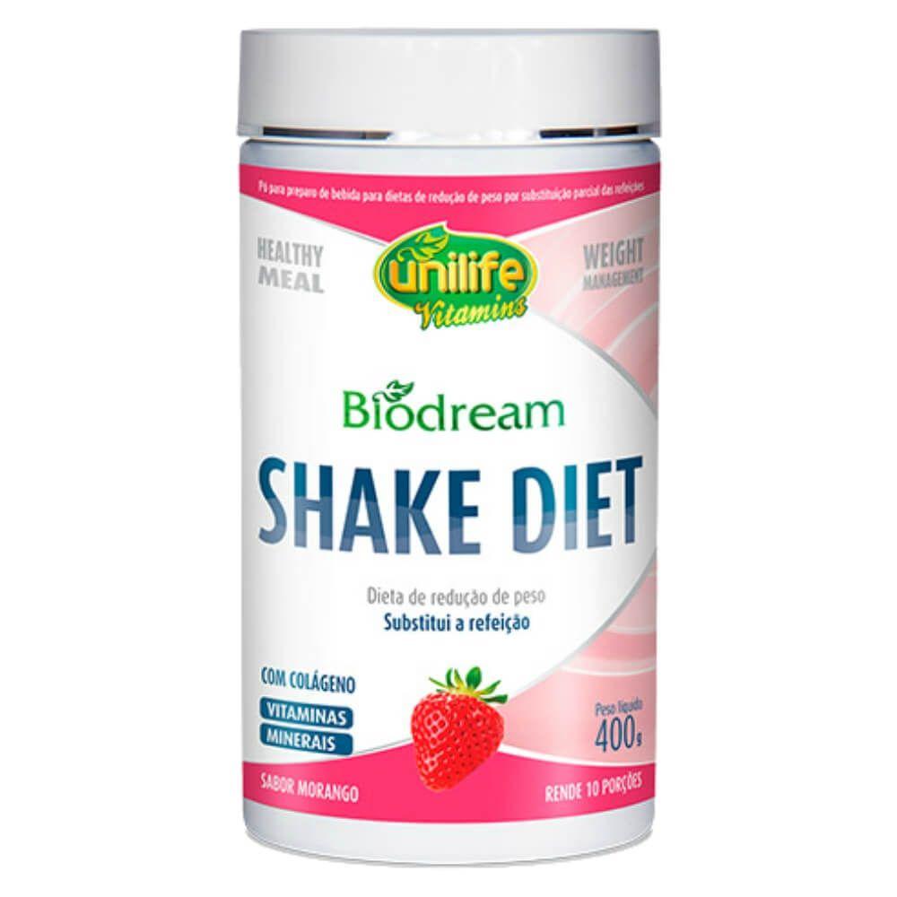 Shake Diet Biodream Sabor Morango 400g - Unilife