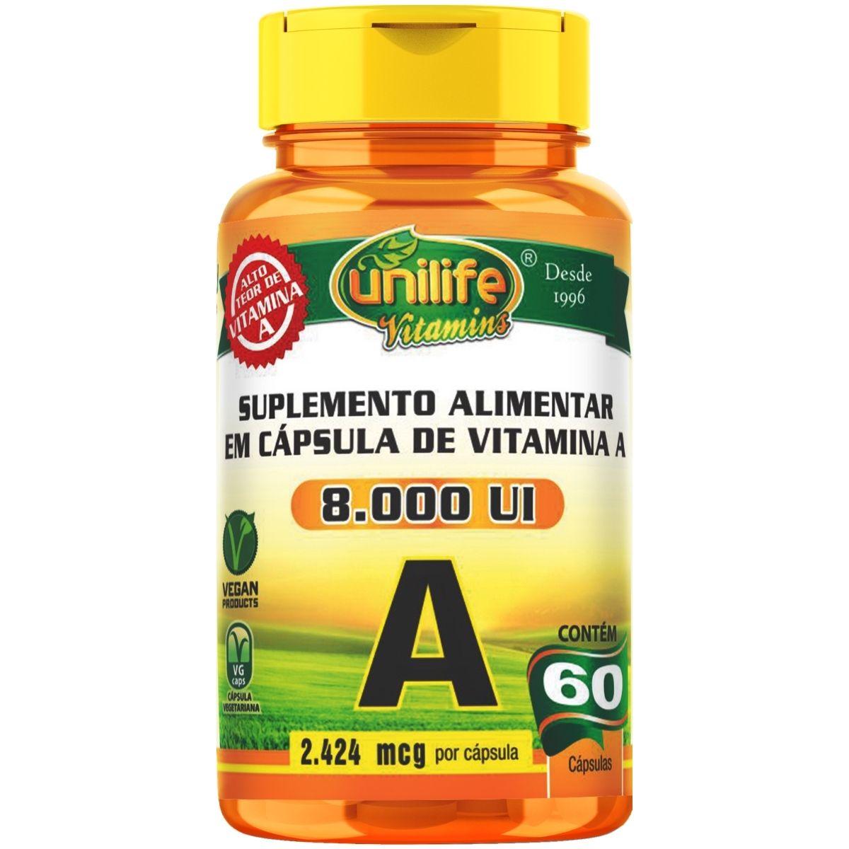 Vitamina A 8.000UI 60 Cápsulas Acetato de Retinol - Unilife