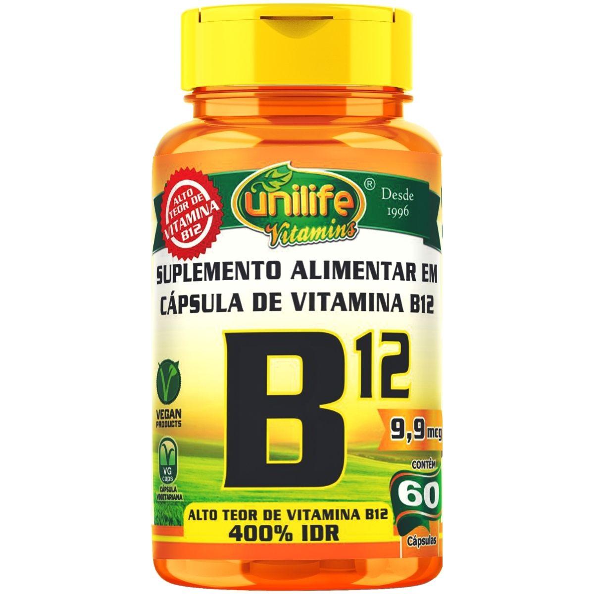 Vitamina B12 Cianocobalamina 60 Cápsulas 450mg - Unilife
