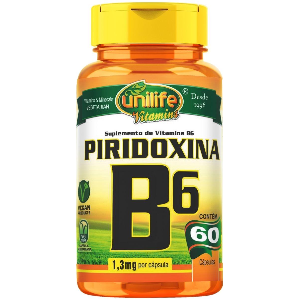Vitamina B6 Piridoxina 60 Cápsulas 500mg - Unilife