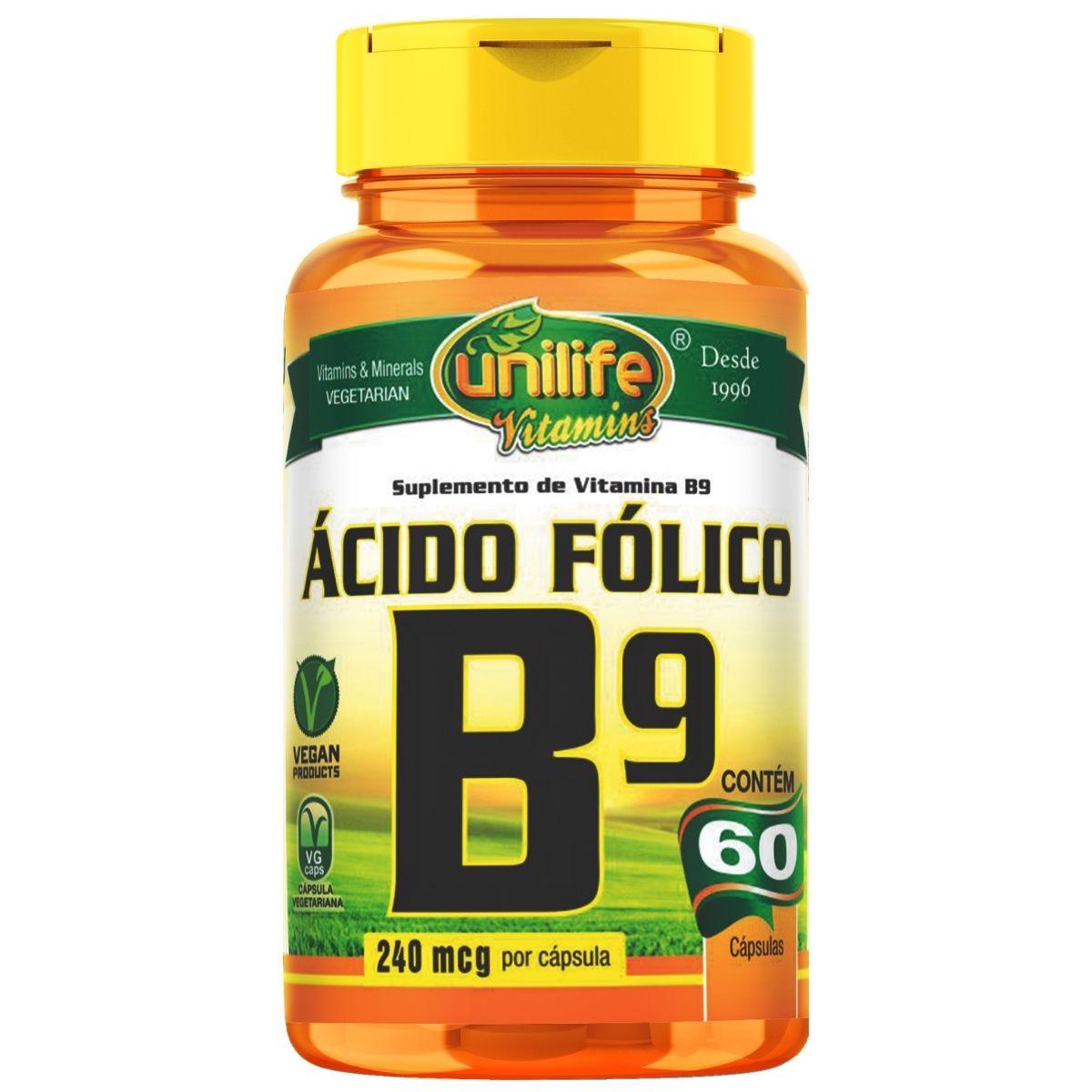Vitamina B9 Ácido Fólico 60 Cápsulas 500mg - Unilife
