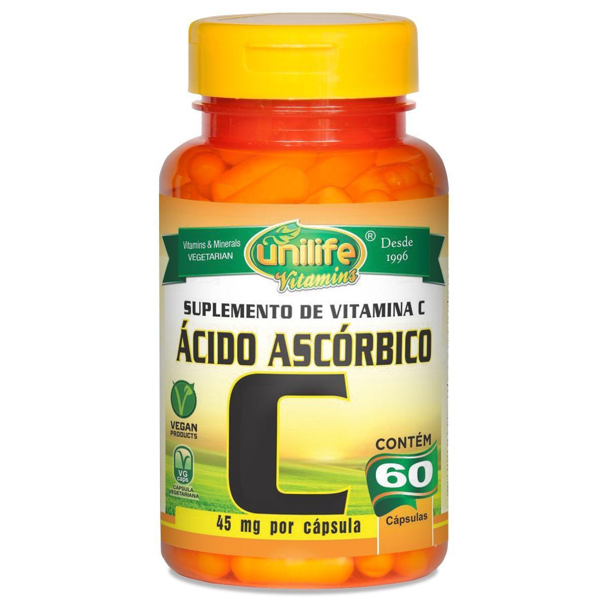 Vitamina C Ácido Ascórbico 500mg 60 Cáps - Unilife