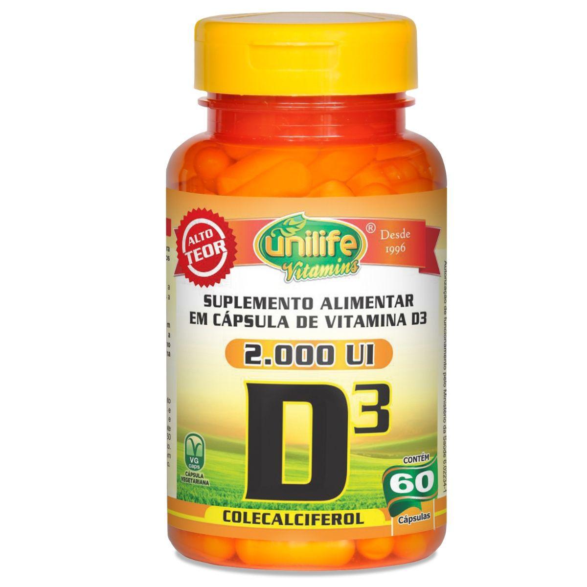 Vitamina D3 Colecalciferol 60 Cápsulas - Unilife