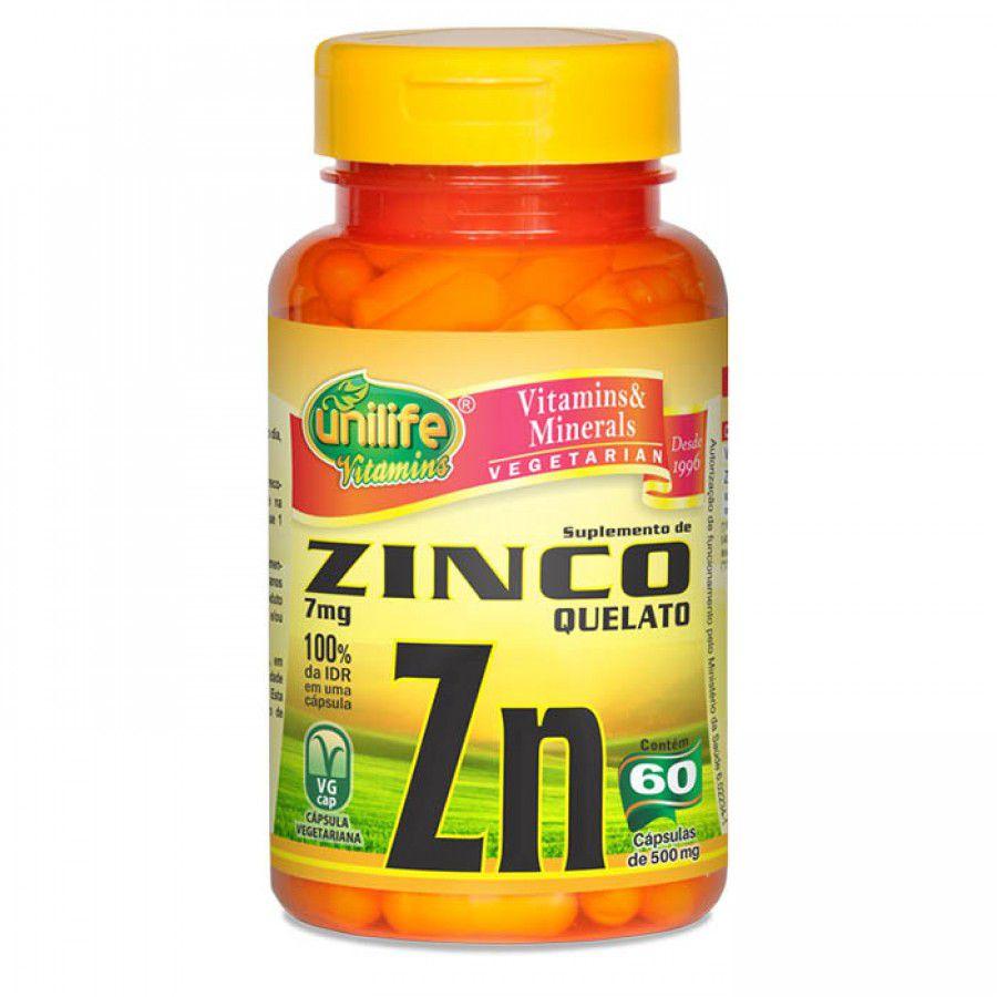 Zinco Quelato Zn 60 Cápsulas - Unilife