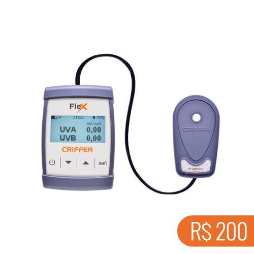 Locação semanal de 1 medidor de ultravioleta UVA e UVB FLEX-04