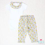 Body + Calça Frufru Floral Cinza e Amarelo