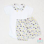 Body e Short Listra Estrela Amarelo e Cinza