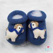 Botinha de Tricô Cavalinho Azul Jeans