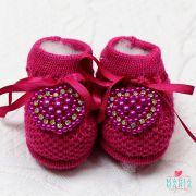 Botinha de Tricô Coração Pink