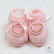 Botinha de Tricô Coração Rosa