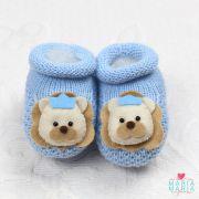 Botinha de Tricô Leãozinho Azul Bebê