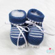 Botinha de Tricô Listrada Azul Jeans e Branco