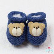 Botinha de Tricô Ursinho Azul Jeans