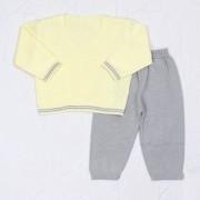 Conjunto Tricô Baby Casaco Amarelo + Calça Cinza