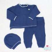 Conjunto Casaco, Calça e Touca Azul Jeans