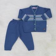 Conjunto de Tricô Zig Zag Azul Jeans