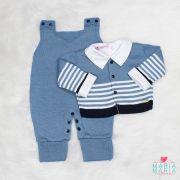 Conjunto Listras Branco, Marinho e Azul Jeans