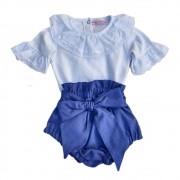 Conjunto Short Bloomer Jeans Baby + Body Branco