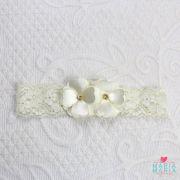 Faixa Renda 2 Flores Strass Off White