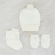 Kit de Tricô Touca, Luva e Meias Off White