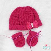 Kit Touca e Luva Laço Pink