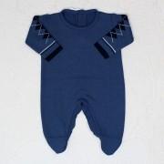 Macacão de Tricô Jacar Escocês Azul Jeans e Marinho