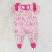 Macacão Suedine Princesa Floral Pink