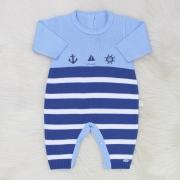 Macacão Tricô Marinheiro Azul e Azul Jeans