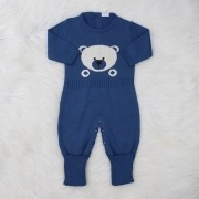 Macacão Tricô Ursinho Azul Jeans