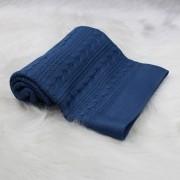 Manta Tricô Trança Corda Azul Jeans