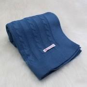 Manta Tricô Trancinhas Azul Jeans